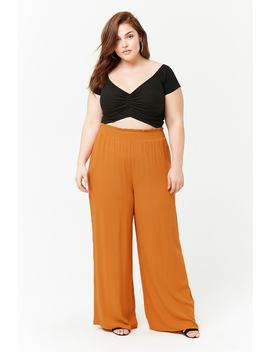 Plus Size Smocked Wide Leg Pants by Forever 21