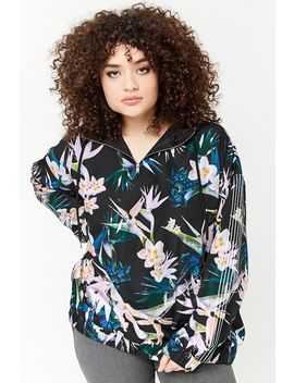 Plus Size Floral Print Anorak by Forever 21