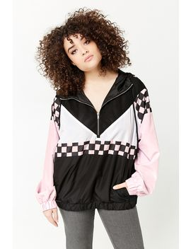 Plus Size Checkered Mesh Insert Anorak by Forever 21