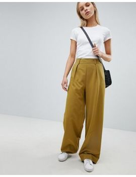 Asos Design Wide Leg Pants With Pleat Detail by Asos Design