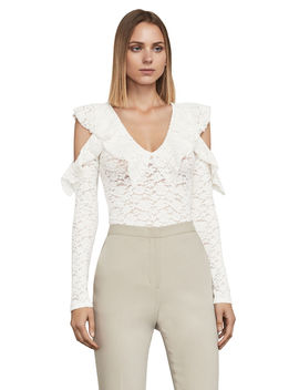 Astril Cold Shoulder Lace Top by Bcbgmaxazria