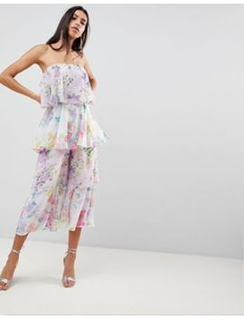 Asos Tiered Jumpsuit In Mixed Florals by Asos Collection