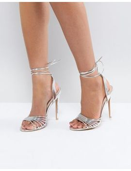True Decadence Silver Ankle Tie Heeled Sandal by True Decadence