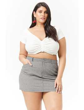 Plus Size Gingham Mini Skirt by Forever 21