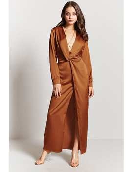 Satin Ruched Maxi Dress by F21 Contemporary