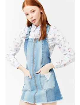 Denim Panel Overall Mini Dress by Forever 21