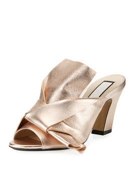 Metallic Leather Chunky Heel Mule Sandal, Pink by No. 21