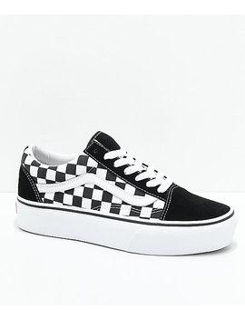 Vans Old Skool Black & White Checkered Platform Skate Shoes by Vans