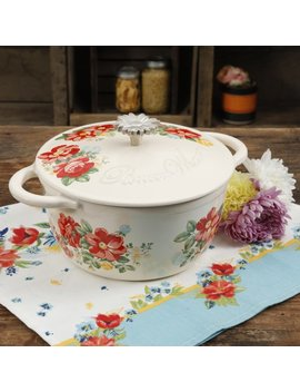 The Pioneer Woman Timeless Beauty Vintage Floral 3 Quart Enameled Cast Iron Casserole W/Lid by The Pioneer Woman