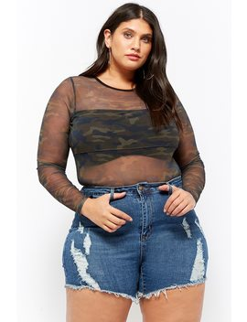 Plus Size 12x12 Distressed Denim Shorts by Forever 21
