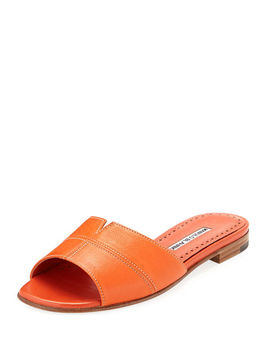 Lasatte Notched Flat Leather Slide Sandal by Manolo Blahnik