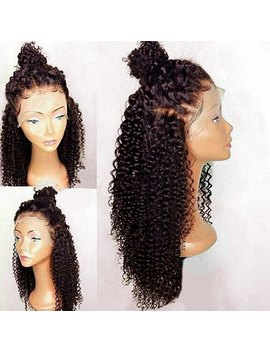 Free Part Long Curly Synthetic Lace Front Wig   Deep Brown by Rosewholesale