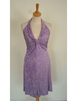 Issa London Pure Silk Jersey Halterneck Spotted Purple Mauve Dress Bnwt, Uk 10 S by Issa London