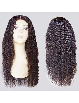 Long Center Parting Fluffy Curly Lace Front Synthetic Wig   Brown by Rosewholesale
