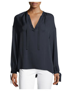 Tie Front Silk Poet Blouse by Vince