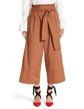 Wide Leg Belted Paperbag Pants by Rejina Pyo