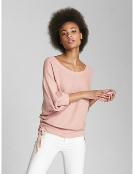 Puff Sleeve Pullover Sweater With Lace Up Detail by Gap