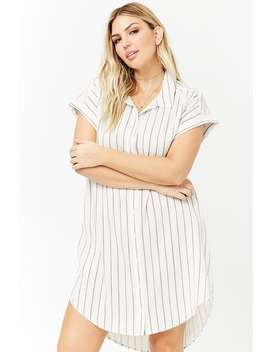 Plus Size Striped Button Front Dress by Forever 21