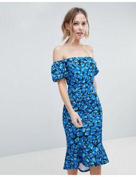 Silver Bloom Bardot Midi Dress With Pephem Midi by Silver Bloom