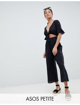 Asos Design Petite Tea Jumpsuit With Cut Out And Tie Detail In Linen by Asos Design