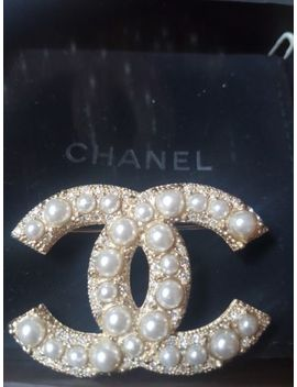 Chanel Crystals  & Pearl Gold  Large  Cc Brooch Cc Pin Brand New by Chanel