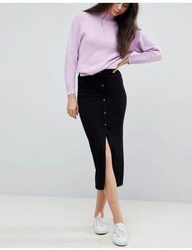 Asos Design Tall Rib Popper Midi Skirt by Asos Tall