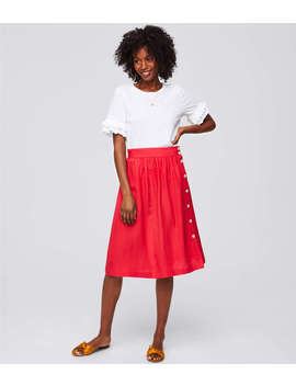 Side Button Midi Skirt by Loft