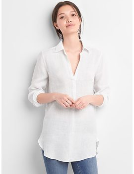 Popover Boyfriend Tunic Shirt In Linen by Gap