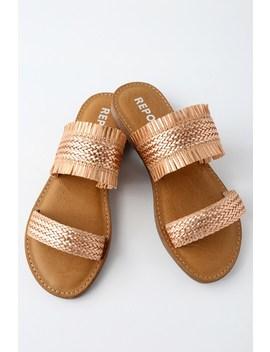 Oralia Rose Gold Slide Sandals by Report