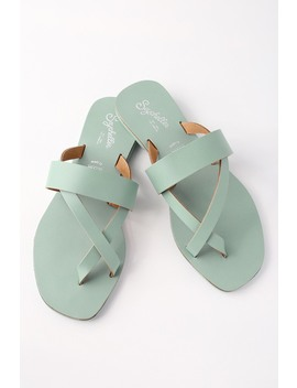 Destiny Seafoam Leather Flat Sandals by Seychelles