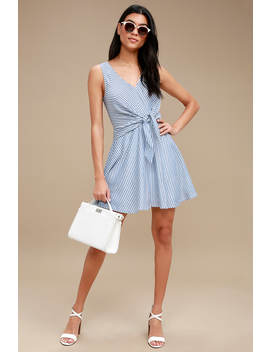Teauge Blue And White Striped Tie Front Dress by Lulus
