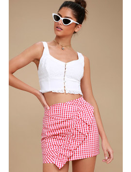 Collegiate Class Red And White Gingham Mini Skirt by Lulu's