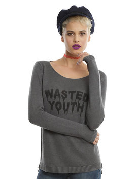 Wasted Youth Grey Crossback Girls Sweater by Hot Topic