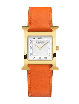 Heure H Mm Watch With Orange Leather Strap by Hermes