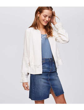 Ruffle Bomber Jacket by Loft