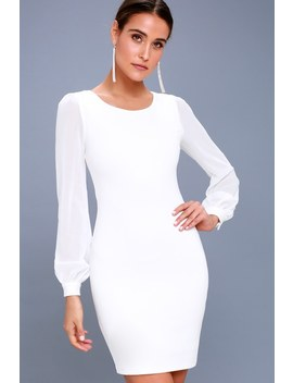 Poetic Love White Long Sleeve Bodycon Dress by Lulus