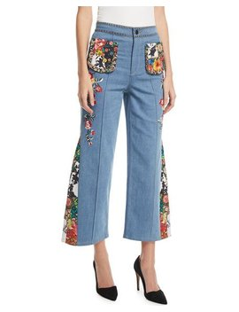Reina High Waist Flared Leg Jeans With Embroidery by Alice + Olivia
