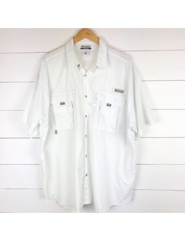 Columbia Men's Xxl Shirt Pfg Omni Shade Button Up Vented Fishing White Camping by Columbia