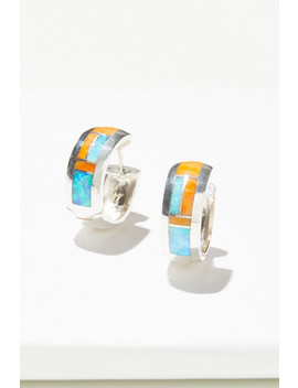 Sterling Inlay Stone Huggie Hoops by Free People