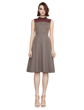 Roslyn Faux Leather Trimmed A Line Dress by Bcbgmaxazria