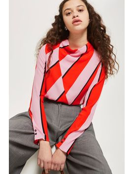 High Neck Bold Stripe Blouse by Topshop