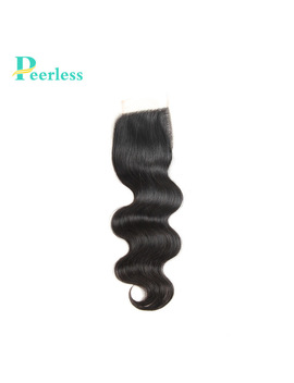 "Peerless Hair Body Wave Lace Closure 4""*4"" Free Part Closure Natural Color 100 Percents Virgin Human Hair Free Shipping by Ali Express"