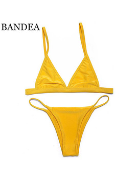 Bandea Sexy Spandex Polyester Women Bikini Swimwear Solid Yellow Swimsuit Brazilain Bikini Swim Suit Summer Maillot De Bain  by Bandea Good Store