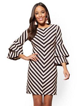 Tiered Sleeve Shift Dress   Chevron Stripe by New York & Company