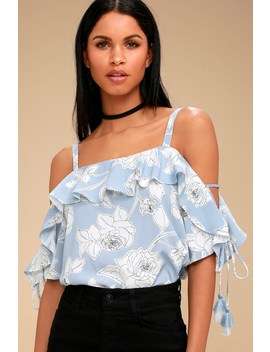 Coqui Light Blue Floral Print Off The Shoulder Top by Moon River