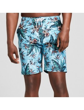 "Men's 9"" Tropical Floral Print Swim Trunks   Goodfellow & Co™ Teal by Goodfellow & Co™"