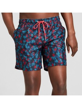 "Men's 7"" Coral Multi Print Swim Trunks   Goodfellow & Co™ Navy by Goodfellow & Co™"