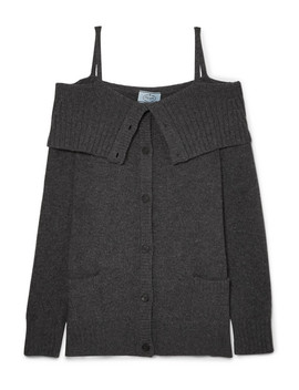 Cold Shoulder Wool And Cashmere Blend Cardigan by Prada