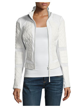 Quilted Leather & Mesh Moto Jacket by Neiman Marcus