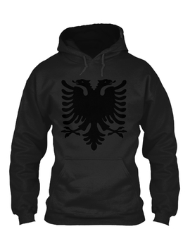 Black Albanian Double Headed Eagle Under Gildan Hoodie Sweatshirt by Teespring
